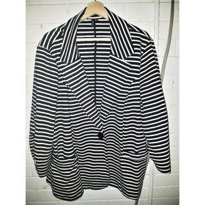 Ambition - Black and White Striped Blazer - 3X